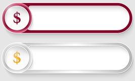 Botões abstratos do vetor com sinal de dólar Fotos de Stock Royalty Free