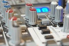 Botões audio da placa do misturador Imagens de Stock