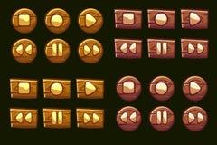 Botões audio de madeira do vetor Ícones ilustrados do jogador ilustração stock