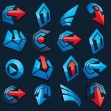 Botões azuis do app do vetor dimensional Coleção das setas, direc Fotografia de Stock Royalty Free