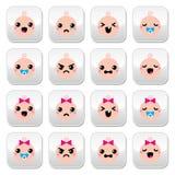 Botões bonitos de Kawaii do bebê e da menina ajustados Fotografia de Stock Royalty Free
