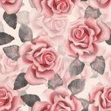 Botões bonitos Teste padrão 7 das rosas da aquarela Fundo sem emenda Imagens de Stock