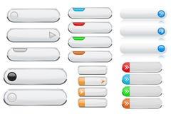 Botões brancos do menu da relação ícones 3d brilhantes com etiquetas coloridas Fotos de Stock