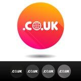 Botões BRITÂNICOS do sinal do CO do domínio 5 símbolos níveis mais alto do domínio do Internet do vetor dos ícones Imagem de Stock