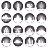 Botões cinzentos de lugares famosos no mundo Fotos de Stock