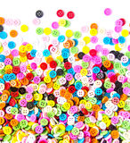 Botões coloridos, Clasper colorido no fundo branco Imagens de Stock