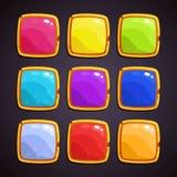 Botões coloridos com beira dourada Ativos do vetor para o projeto da Web ou de jogo ilustração stock