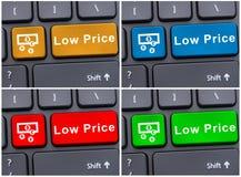 Botões coloridos com mensagem do preço baixo Fotografia de Stock