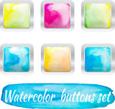 Botões coloridos da aquarela do vetor Imagens de Stock Royalty Free