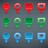 Botões coloridos da Web, caixas de seleção, ponteiros Imagens de Stock