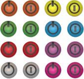Botões coloridos de ligar/desligar ajustados Imagem de Stock Royalty Free