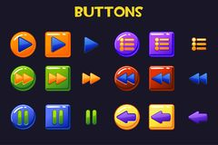 Botões coloridos de Ui do projeto de jogo, botão dos desenhos animados ilustração do vetor