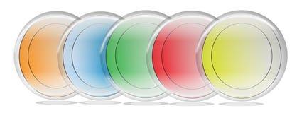 Botões coloridos de uns cinco arcos-íris para o uso da Web Fotografia de Stock Royalty Free