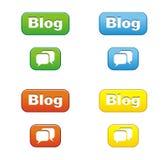 Botões coloridos do blogue Fotografia de Stock Royalty Free
