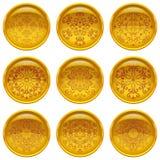 Botões com testes padrões, grupo Fotografia de Stock Royalty Free
