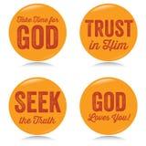 Botões cristãos do vintage, amarelos Fotos de Stock