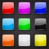 Botões 3d de vidro coloridos Ícones quadrados no fundo preto ilustração royalty free