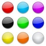 Botões 3d de vidro coloridos Ícones redondos ilustração do vetor