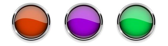 Botões 3d de vidro coloridos com quadro do cromo Ícones redondos ilustração stock