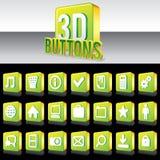 botões 3D verdes brilhantes para o Web site ou o Apps. Vetor Foto de Stock Royalty Free