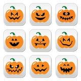 Botões da abóbora de Dia das Bruxas ajustados Imagens de Stock Royalty Free