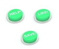 Botões da ajuda, como e de economias Fotos de Stock Royalty Free