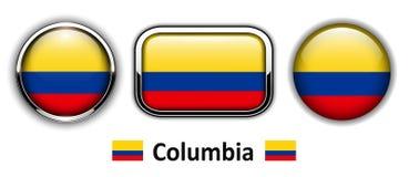 Botões da bandeira de Colômbia ilustração do vetor