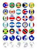 Botões da Web das bandeiras de país de Americas com globos Fotografia de Stock Royalty Free