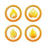 Botões da Web do fogo ajustados Fotos de Stock Royalty Free