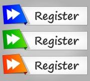 Botões da Web do projeto do papel do registro Imagens de Stock