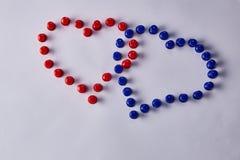 Botões dados forma coração fotos de stock