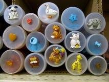 Botões das crianças na exposição Fotos de Stock Royalty Free