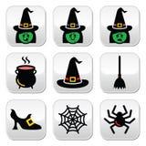Botões de Dia das Bruxas da bruxa ajustados Fotos de Stock