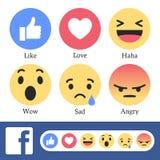 Botões de Facebook novo como ou da reação Imagens de Stock