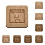 Botões de madeira da aplicação de Webshop Imagens de Stock Royalty Free