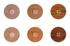 Botões de madeira da roupa da costura Fotografia de Stock Royalty Free