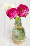 Botões de ouro brancos e cor-de-rosa na superfície de madeira Fotos de Stock Royalty Free