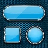 Botões de vidro azuis em fundo perfurado do metal Imagem de Stock Royalty Free