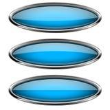Botões de vidro azuis ovais com quadro do metal Imagem de Stock