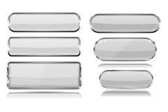 Botões de vidro brancos com quadro do metal Jogo dos ícones 3d Foto de Stock Royalty Free