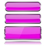 Botões de vidro violetas Ícones do retângulo 3d com quadro do cromo Foto de Stock