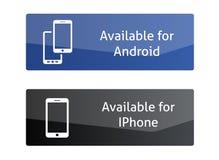 Botões disponíveis para o androide e o Iphone Imagem de Stock