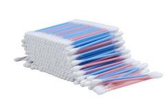 Botões do algodão no fundo branco Imagens de Stock Royalty Free
