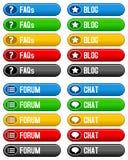 Botões do bate-papo do fórum do blogue do FAQ Fotografia de Stock
