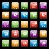 Botões do carrinho de compras ajustados Foto de Stock Royalty Free