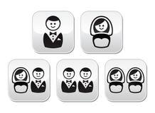 Botões do casamento de Hetero, de homossexual ou de lésbica ajustados Imagens de Stock Royalty Free