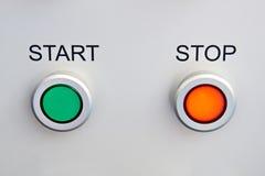 Botões do começo e de parada no dispositivo Imagem de Stock Royalty Free