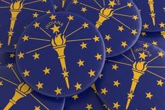 Botões do estado de E.U.: Pilha da ilustração de Indiana Flag Badges 3d ilustração do vetor