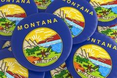 Botões do estado de E.U.: Pilha da ilustração de Montana Flag Badges 3d ilustração do vetor