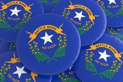 Botões do estado de E.U.: Pilha da ilustração de Nevada Flag Badges 3d ilustração royalty free